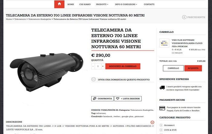 ecommerce wordpress Videosorveglianza pagina prodotto