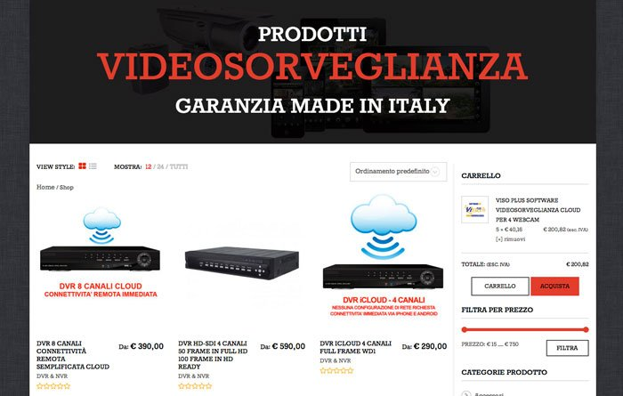 ecommerce wordpress Videosorveglianza pagina shop